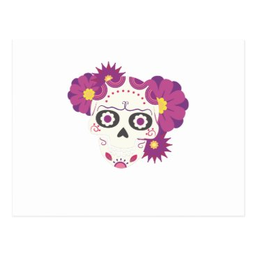 Halloween Themed Sugar Flower Skulls  Happy Halloween Funny Postcard