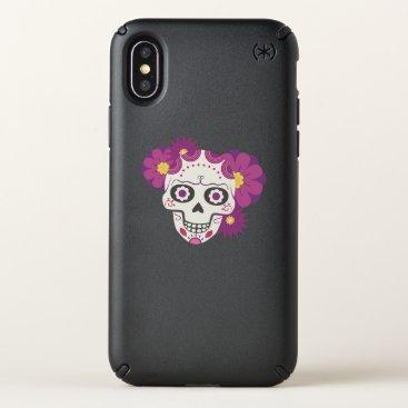 Halloween Themed Sugar Flower Skulls  Happy Halloween Funny Speck iPhone X Case
