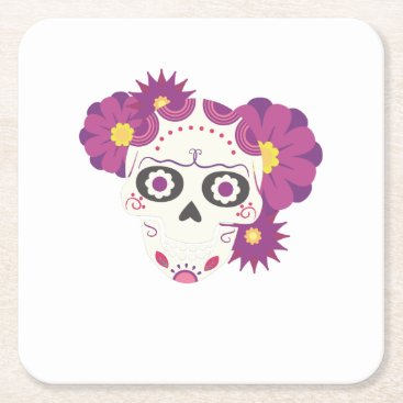 Halloween Themed Sugar Flower Skulls  Happy Halloween Funny Square Paper Coaster