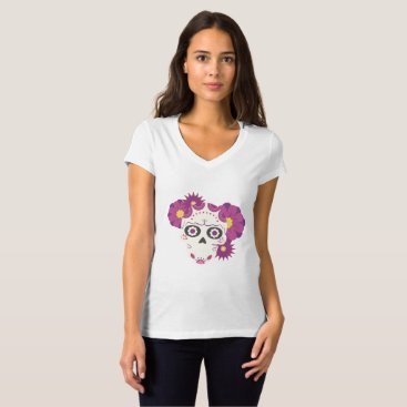 Halloween Themed Sugar Flower Skulls  Happy Halloween Funny T-Shirt