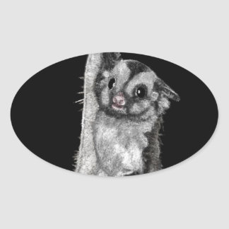 Sugar Glider Bubbles Oval Sticker