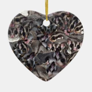 Sugar Glider Collage. Ceramic Ornament