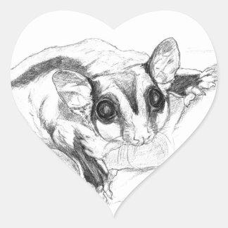Sugar Glider Drawing, Sketch Heart Sticker
