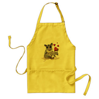 Sugar Glider Flowers and Hearts Adult Apron