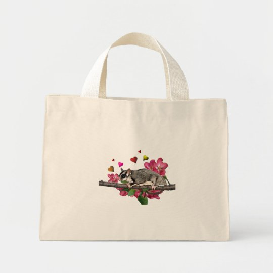 Sugar Glider Flowers and Hearts Mini Tote Bag
