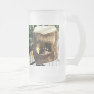 Sugar Glider in Furry Tree Truck Hanging Bed Frosted Glass Beer Mug