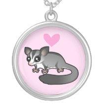 Sugar Glider Love Silver Plated Necklace