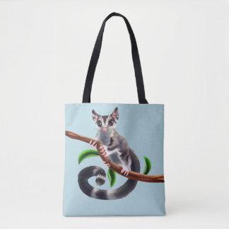 sugar glider on a branch tote bag