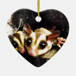 sugar glider photo design Double-Sided heart ceramic christmas ornament