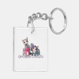 Sugar Glider with present Double-Sided Square Acrylic Keychain
