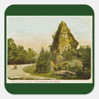 Sugar Loaf Rock  Mackinac Island Michigan Square Sticker