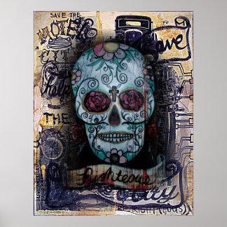 Sugar Motor Skull Poster