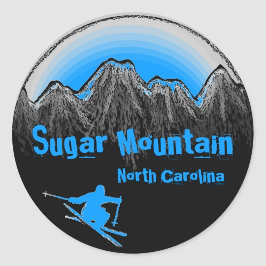 Sugar Mountain North Carolina blue ski stickers