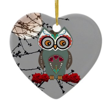 Halloween Themed Sugar Owl Ceramic Ornament