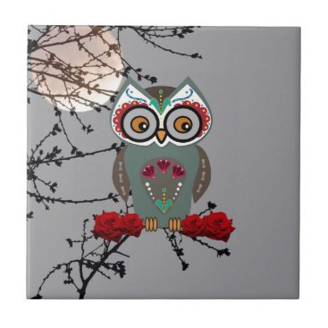 Halloween Themed Sugar Owl Ceramic Tile