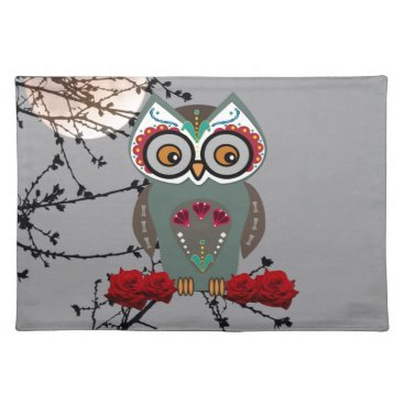 Halloween Themed Sugar Owl Cloth Placemat