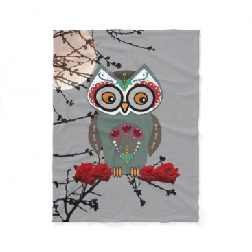 Halloween Themed Sugar Owl Fleece Blanket