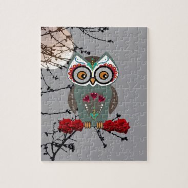 Halloween Themed Sugar Owl Jigsaw Puzzle