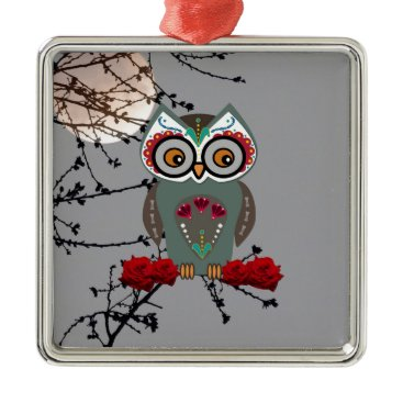 Halloween Themed Sugar Owl Metal Ornament