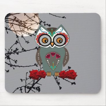 Halloween Themed Sugar Owl Mouse Pad