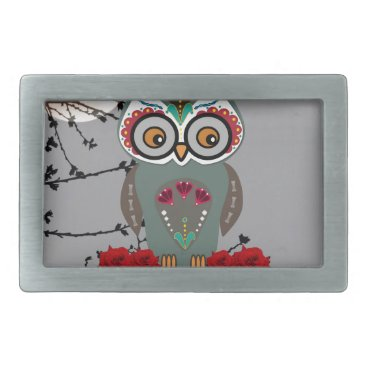 Halloween Themed Sugar Owl Rectangular Belt Buckle