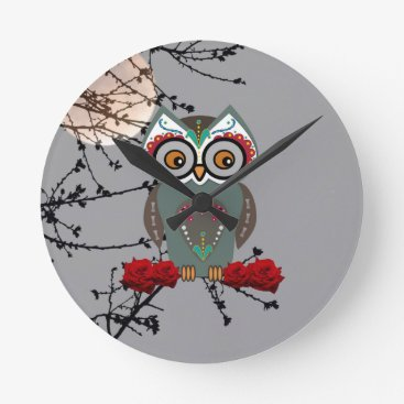 Halloween Themed Sugar Owl Round Clock