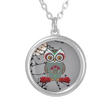 Halloween Themed Sugar Owl Silver Plated Necklace
