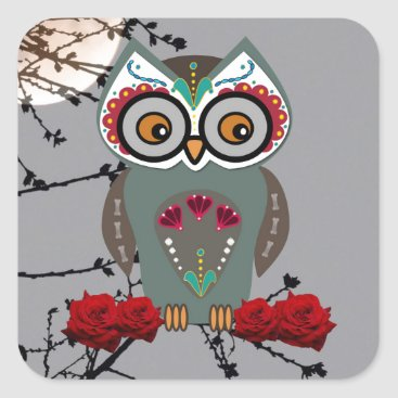 Halloween Themed Sugar Owl Square Sticker
