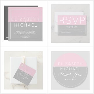 Sugar Pink Grey Wedding Collection