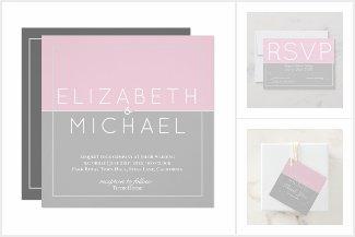 Sugar Pink Grey Wedding Collection