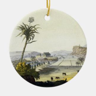 Sugar Plantation, Antilles (colour engraving) Ceramic Ornament