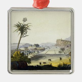 Sugar Plantation, Antilles (colour engraving) Metal Ornament