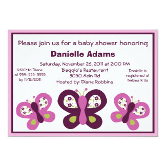 Sugar Plum Butterflies Baby Shower Invitations