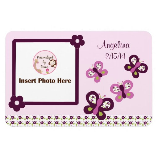 Sugar Plum Butterflies Personalized Photo Magnet