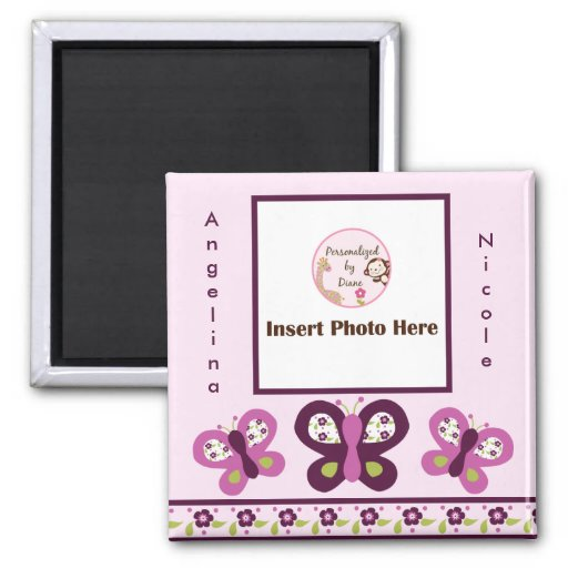 Sugar Plum Butterflies Photo Frame Magnet So Cute