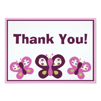Sugar Plum Butterflies Thank You Cards Personalized Announcement