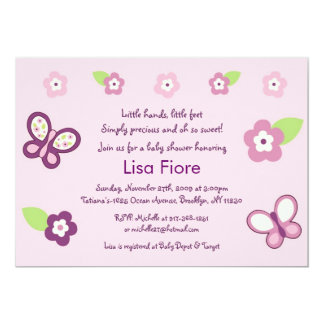 Sugar Plum Butterfly Baby Shower Invitations