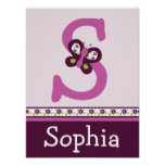 Sugar Plum Butterfly Letter & Name Wall Art Poster
