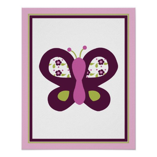Sugar Plum Butterfly Nursery Art Poster