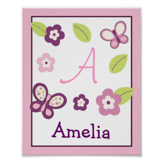 Sugar Plum Butterfly Nursery Wall Art Name Print