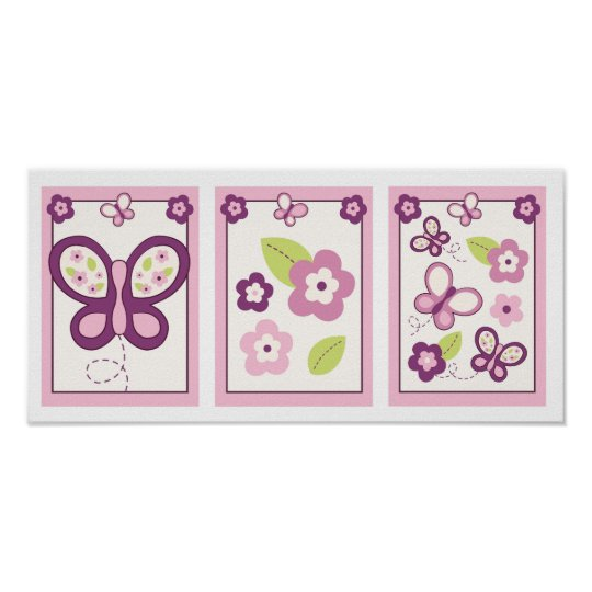 Sugar Plum Butterfly  Nursery Wall Art Prints