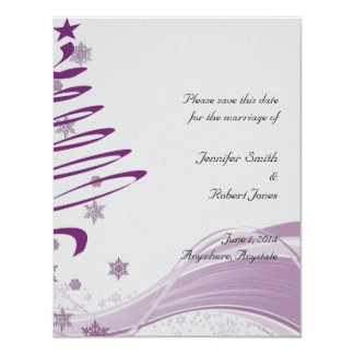 Sugar Plum Tree and Snowflakes in Purple Card