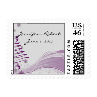Sugar Plum Tree and Snowflakes in Purple Postage Stamps
