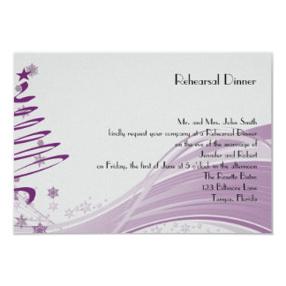 Sugar Plum Tree Snowflake Wedding Rehearsal Dinner Card