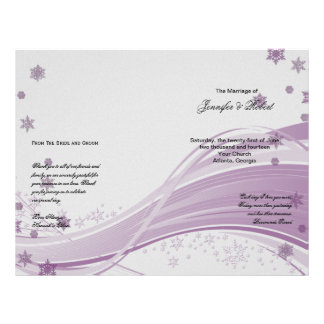 "Sugar Plum Tree Snowflakes Purple Wedding Program 8.5"" X 11"" Flyer"