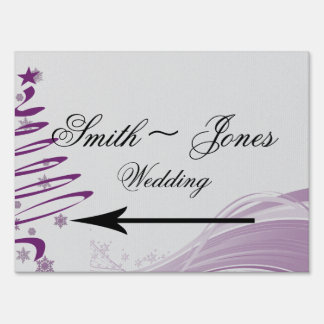Sugar Plum Tree Snowflakes Wedding Direction Sign