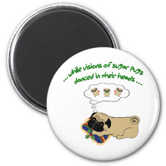 Sugar Pug Christmas 2 Inch Round Magnet