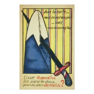 Sugar Rationing ~ Vintage French World War 1. Poster