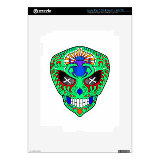 Sugar Skull alien with scarab on forehead Skins For iPad 3