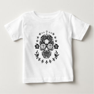 Sugar Skull and Cross with Fleur De Lis Baby T-Shirt